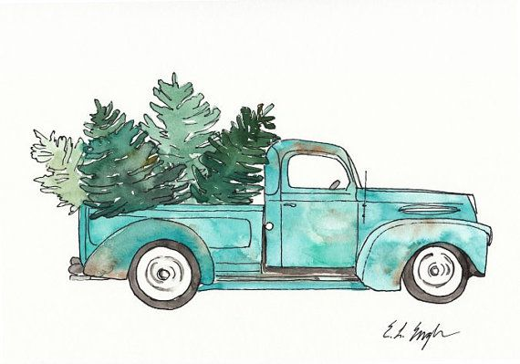 Vintage Truck and Christmas Trees, Original Watercolor.