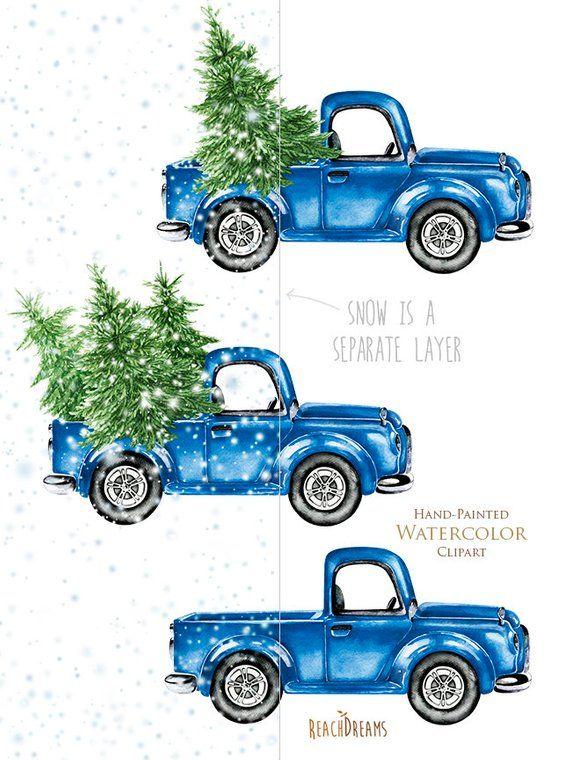 Watercolor Christmas Truck, Vintage Blue Pickup, Pine Tree.