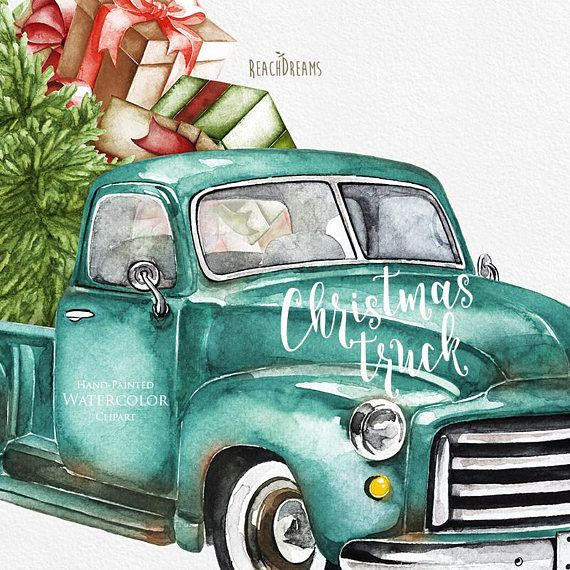 Watercolor Christmas Truck, Vintage Turquoise Pickup, Pine.