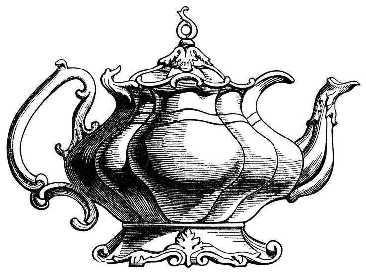Victorian tea pot illustration vintage teapot clipart black.