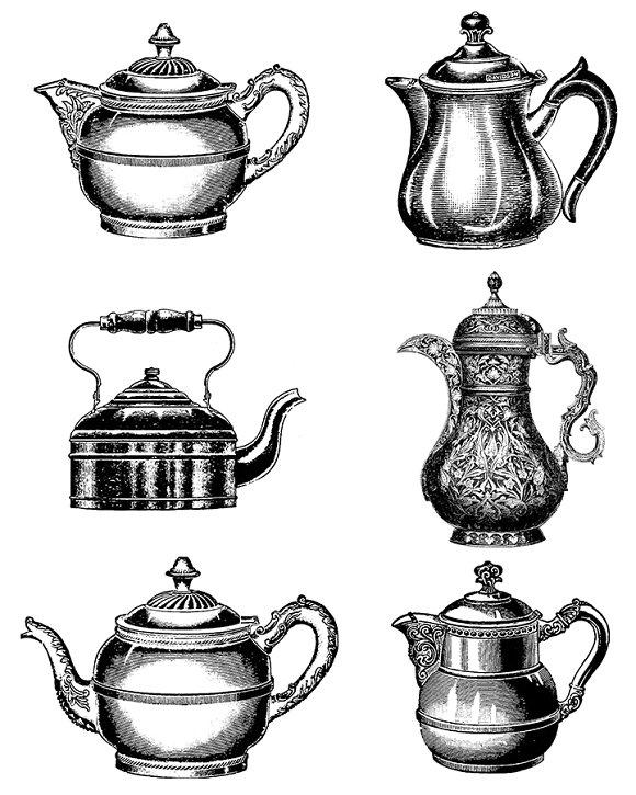 6 Vintage Teapots / Tea Kettles.