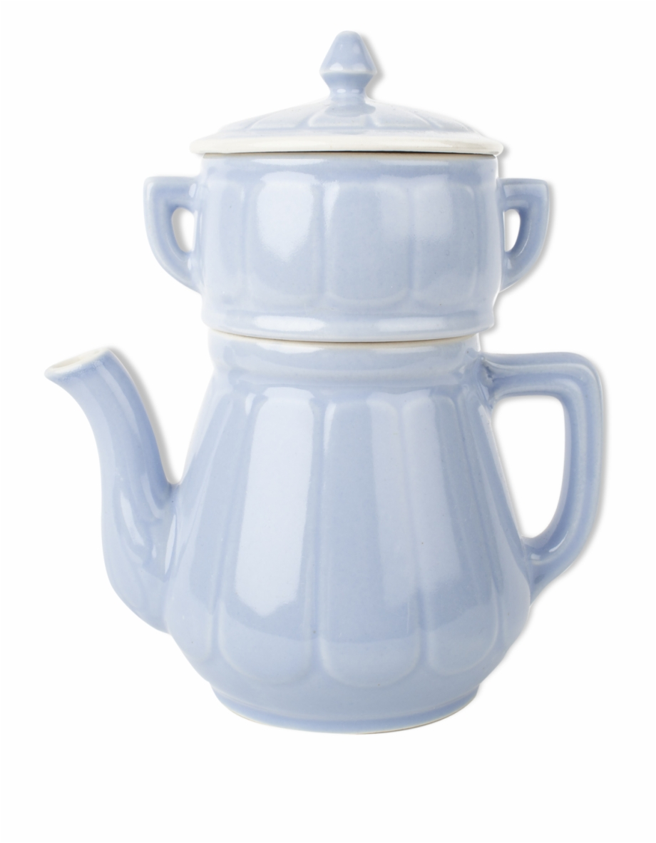Teapot With Filter And Lid Vintage Sky Blue Ceramic.