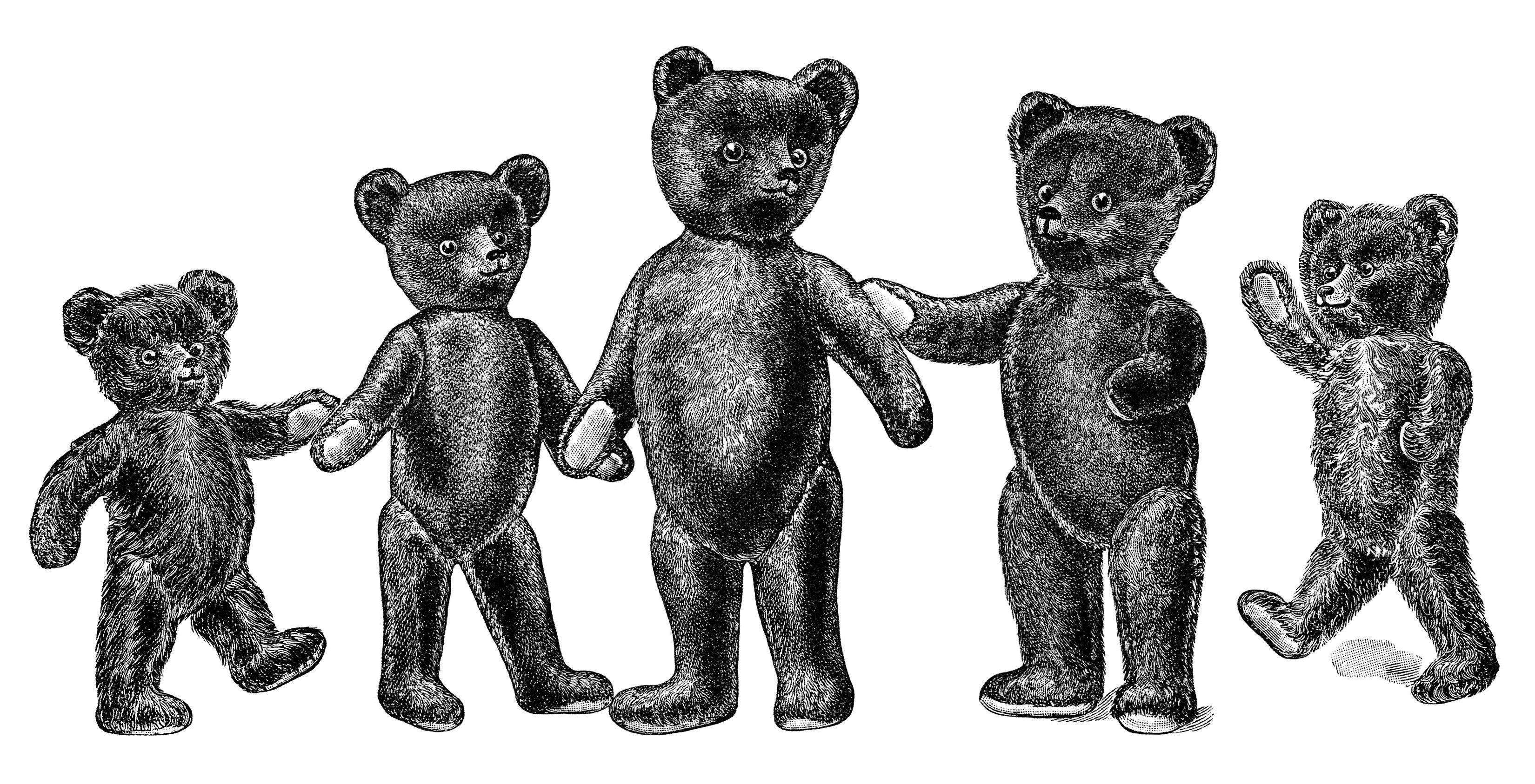 antique teddy bear, vintage teddybear clipart, black and.