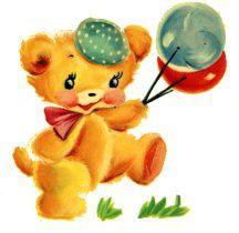 Vintage teddy bear image.