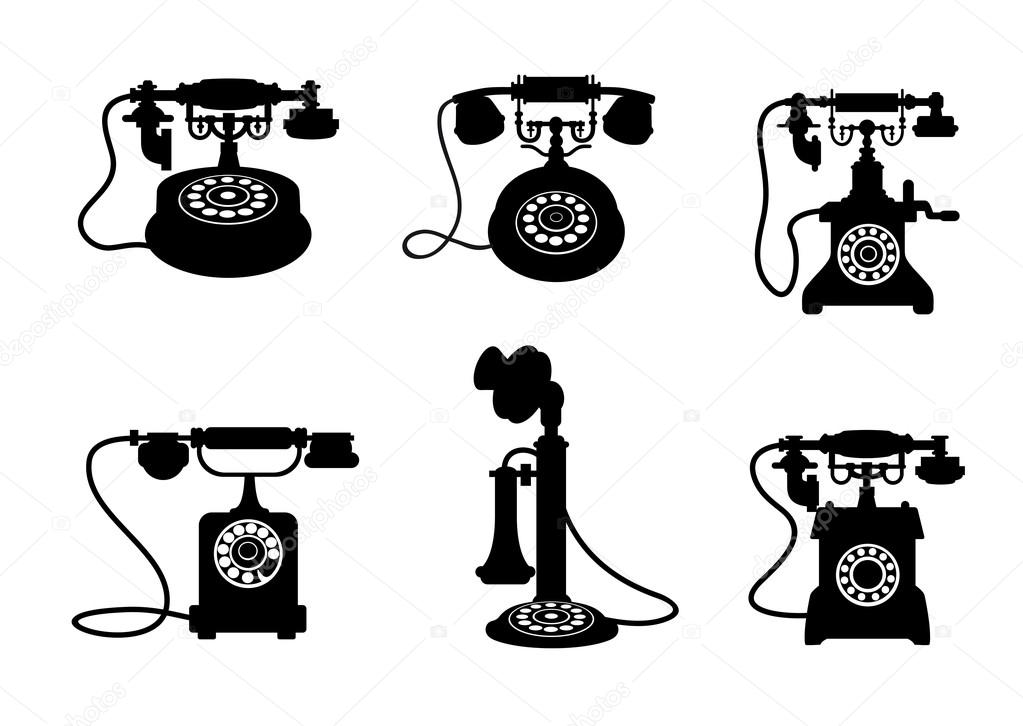 Retro and vintage telephones — Stock Vector © Seamartini #10197212.