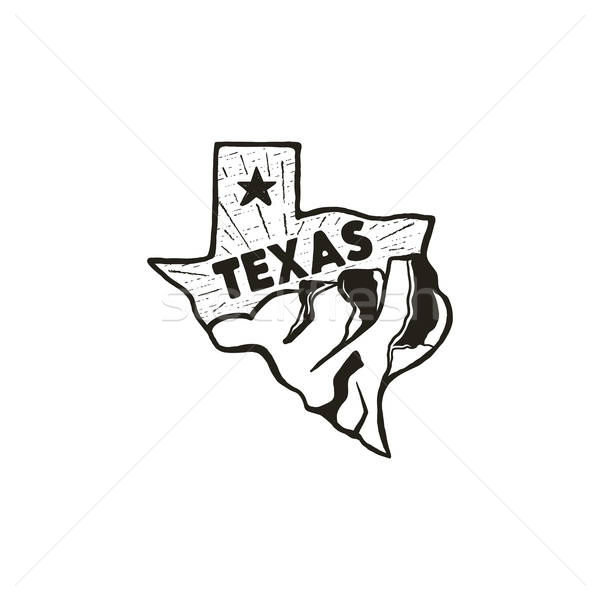 Vintage hand drawn Texas badge state badge, United States.
