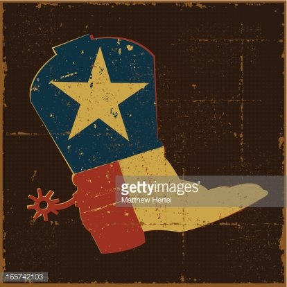 Vintage Texas Flag Boot Clipart Image.