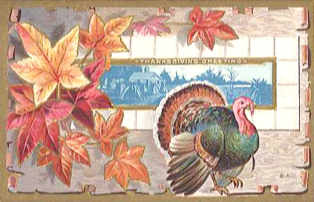 Vintage Thanksgiving Clip Art Turkey Harvest Scene.
