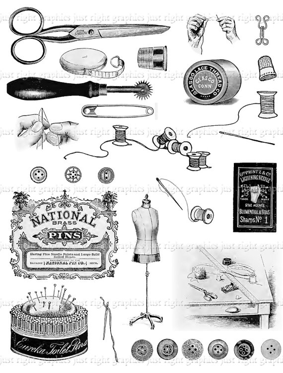 Vintage Sewing Digital Collage Sheet Scrapbook Needle Thread Logo.