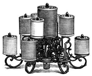 Free Vintage Image ~ Combination Spool and Thimble Holder Clip Art.