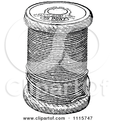Clipart Retro Vintage Black And White Spool Of Sewing Thread.
