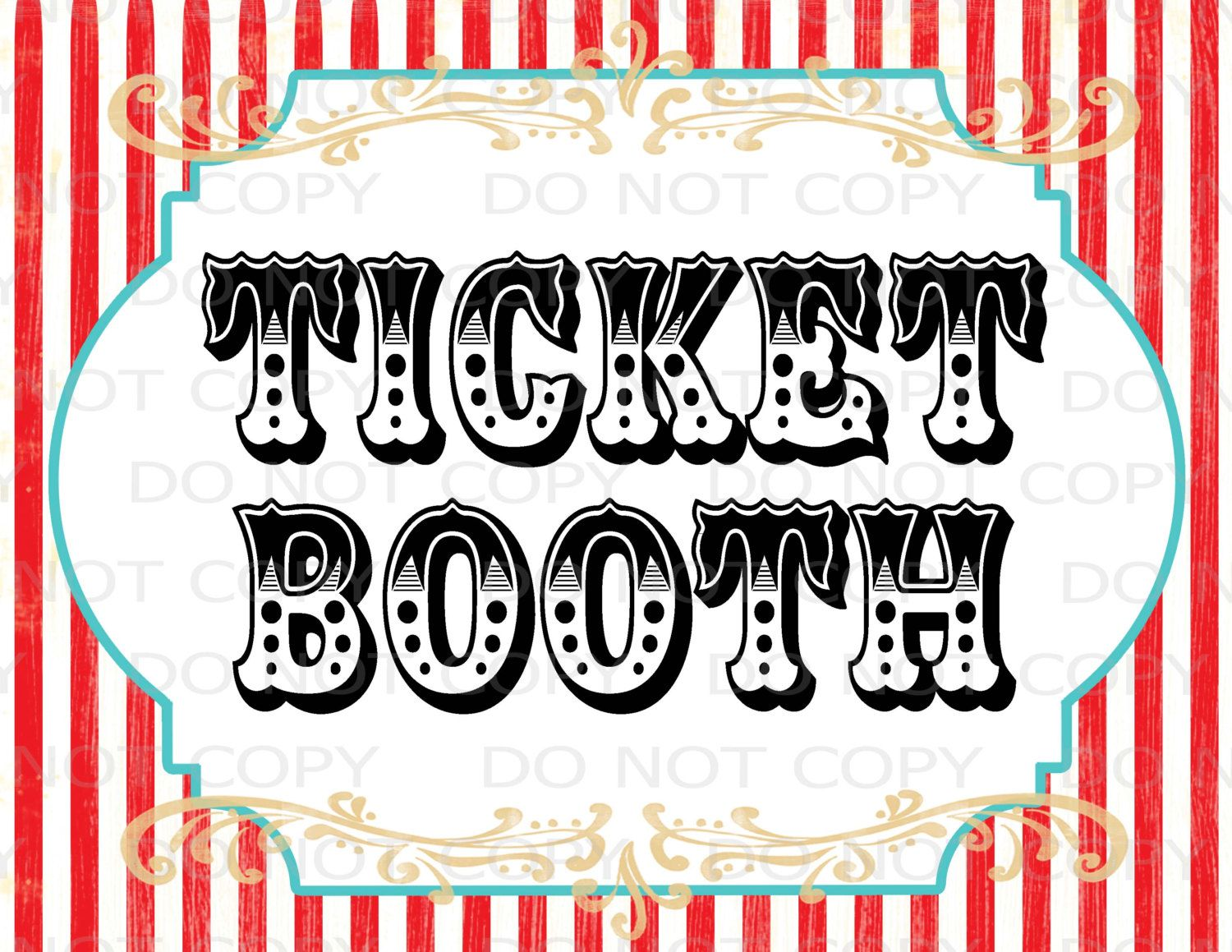 Printable DIY Vintage Circus Ticket Booth Table sign.