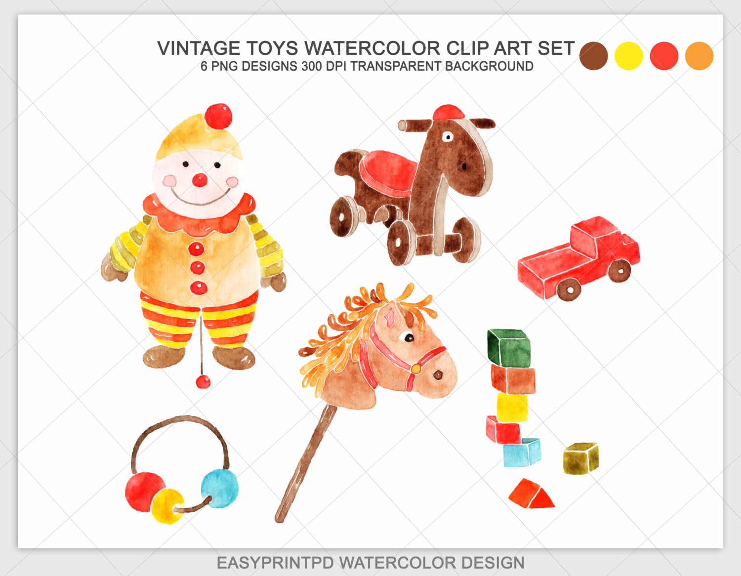 Watercolor Hand Painted Vintage Toys Clipart Christmas Toys.