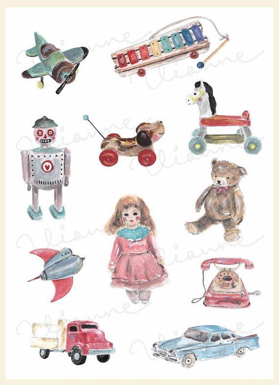 Vintage toys clipart.