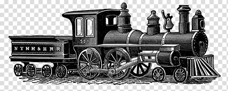 Gray steam engine train illustration, Vintage Train Drawing.
