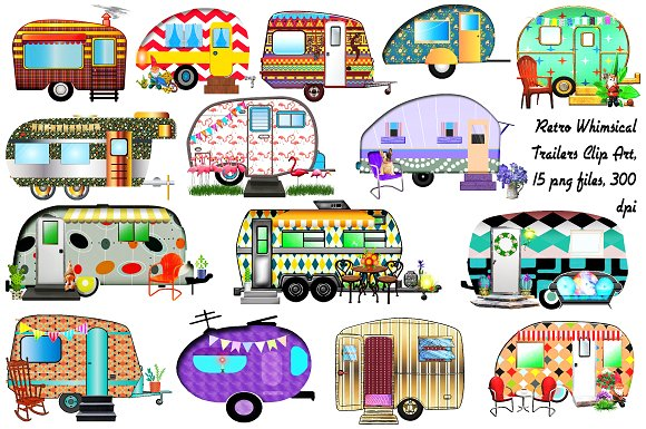Retro Vintage Trailers Clip Art.