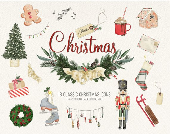 Classic Christmas Watercolor Icons Vintage Holiday Clipart.