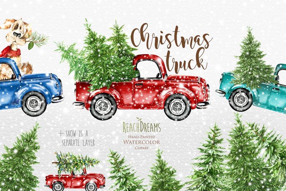 Watercolor Christmas Trucks ~ Illustrations ~ Creative Market.