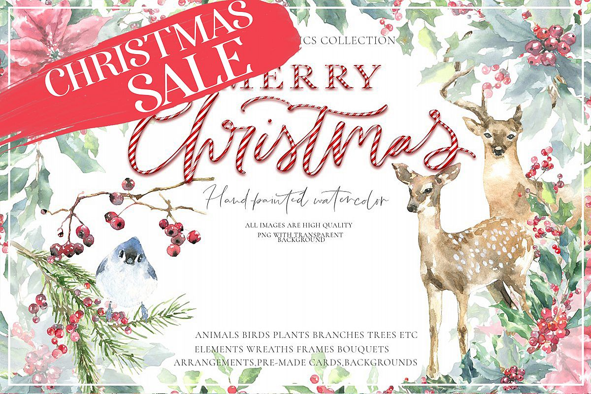 Christmas Watercolor Animals Vintage Woodland animal clipart.
