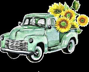 watercolor truck flowers sunflowers vintage antique cla.