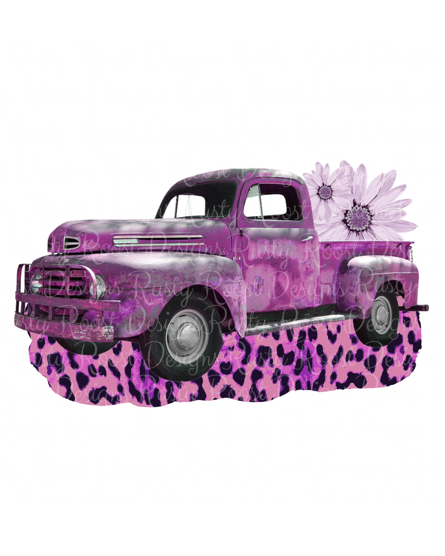 Vintage truck png,vintage purple leopard truck,instant.