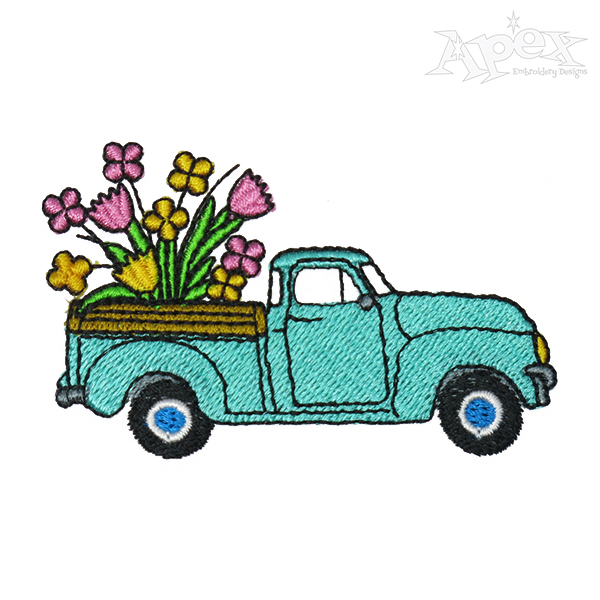 Spring Flowers Vintage Truck Embroidery Design.