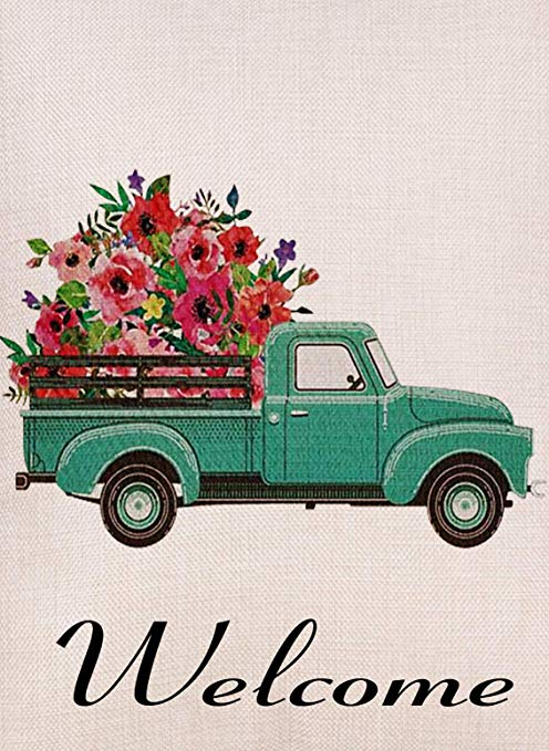 Selmad Home Decorative Vintage Floral Truck Garden Flag Double Sided,  Burlap Flower Welcome Quotes Old Farm Pickup House Yard Decoration, Rustic.