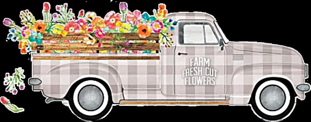 truck flowers antique vintage classic retro floral deco.