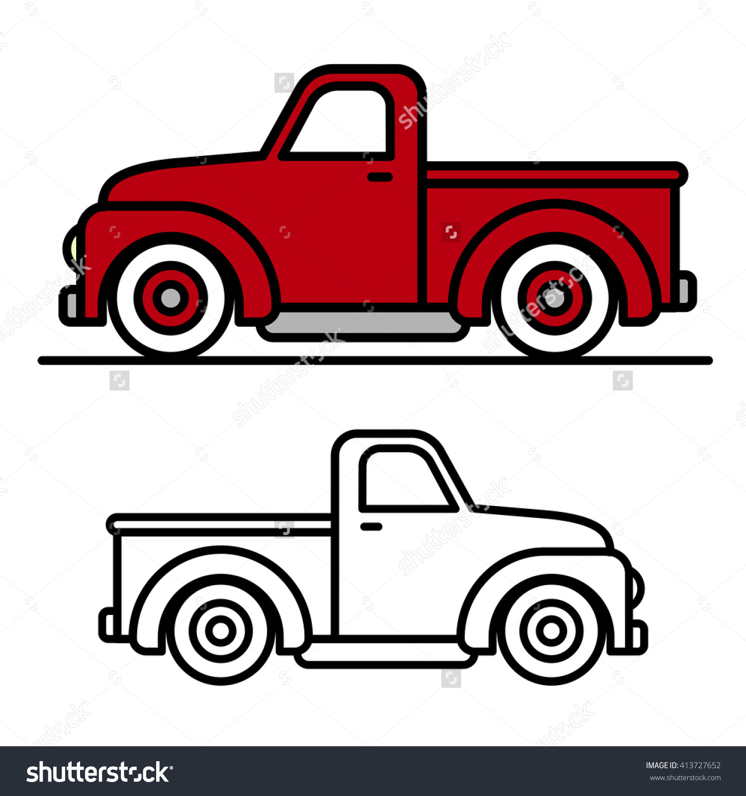 Vintage Pickup Truck Clipart Outline.