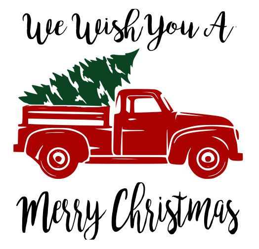 Truck With Christmas Tree Silhouette.