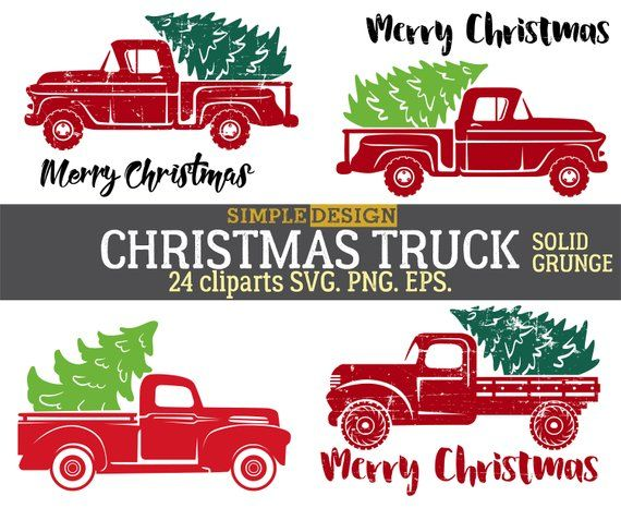 Christmas Red truck, Tree, Old, Vintage, Retro, Silhouette.