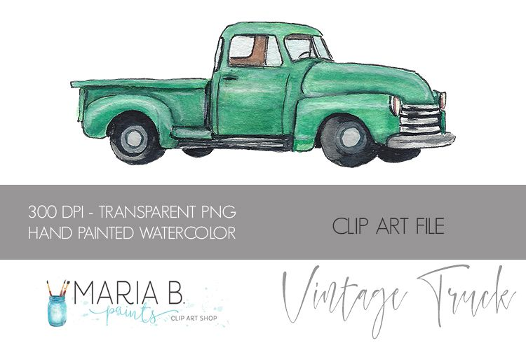 Classic Green Truck Watercolor Clipart PNG.