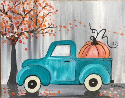 How To Paint A Vintage Pumpkin Truck.