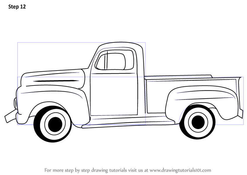Learn How to Draw a Vintage Truck (Vintage) Step by Step.