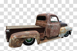 Old Truck Side View, brown pickup truck transparent.