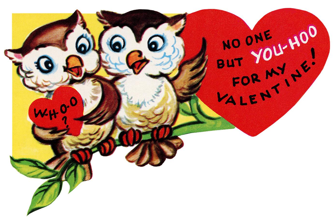 Valentine Owls on a Branch ~ Free Vintage Clip Art.