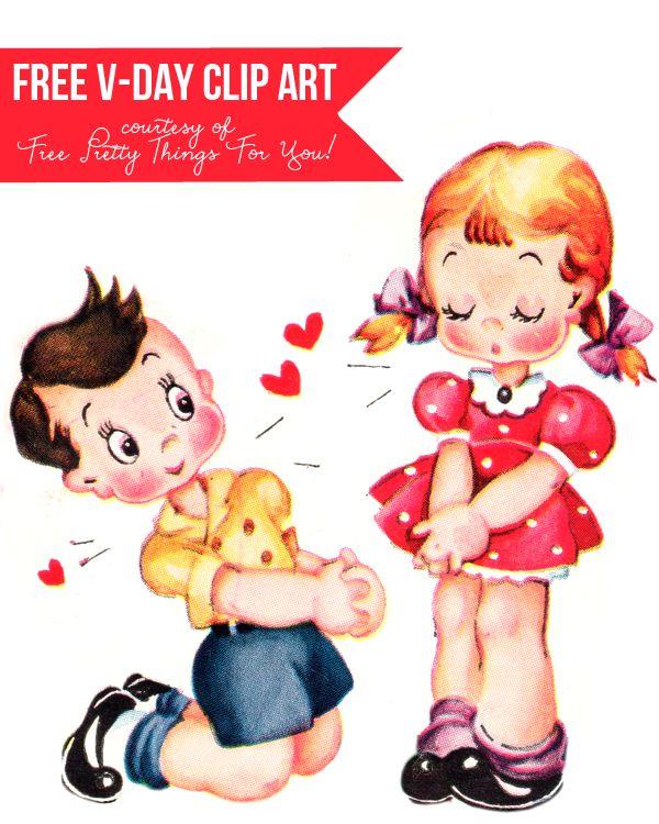 Cute Vintage Valentines Day Clip Art.