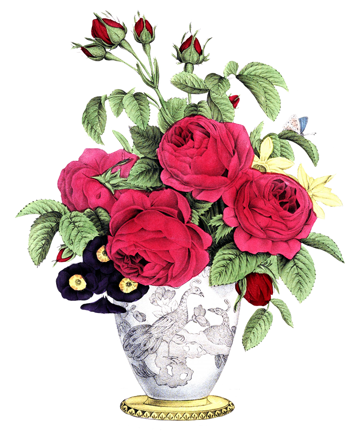 vase with red roses other flowers bouquet.