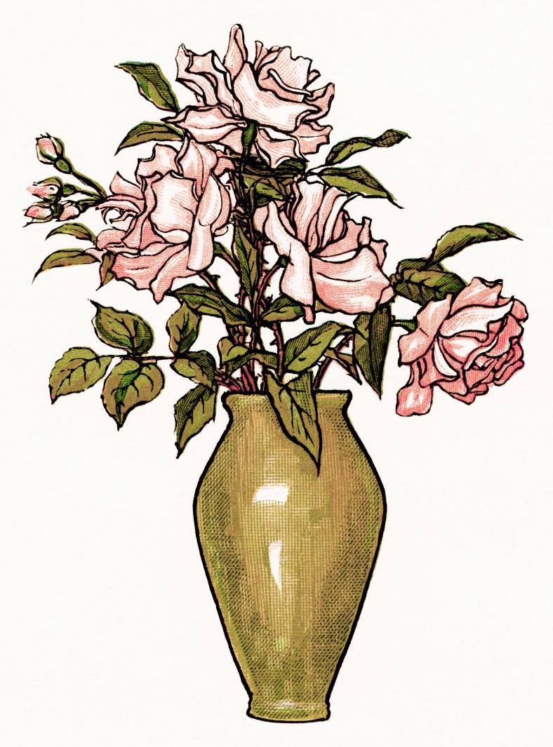 Kate Greenaway Pink Roses.