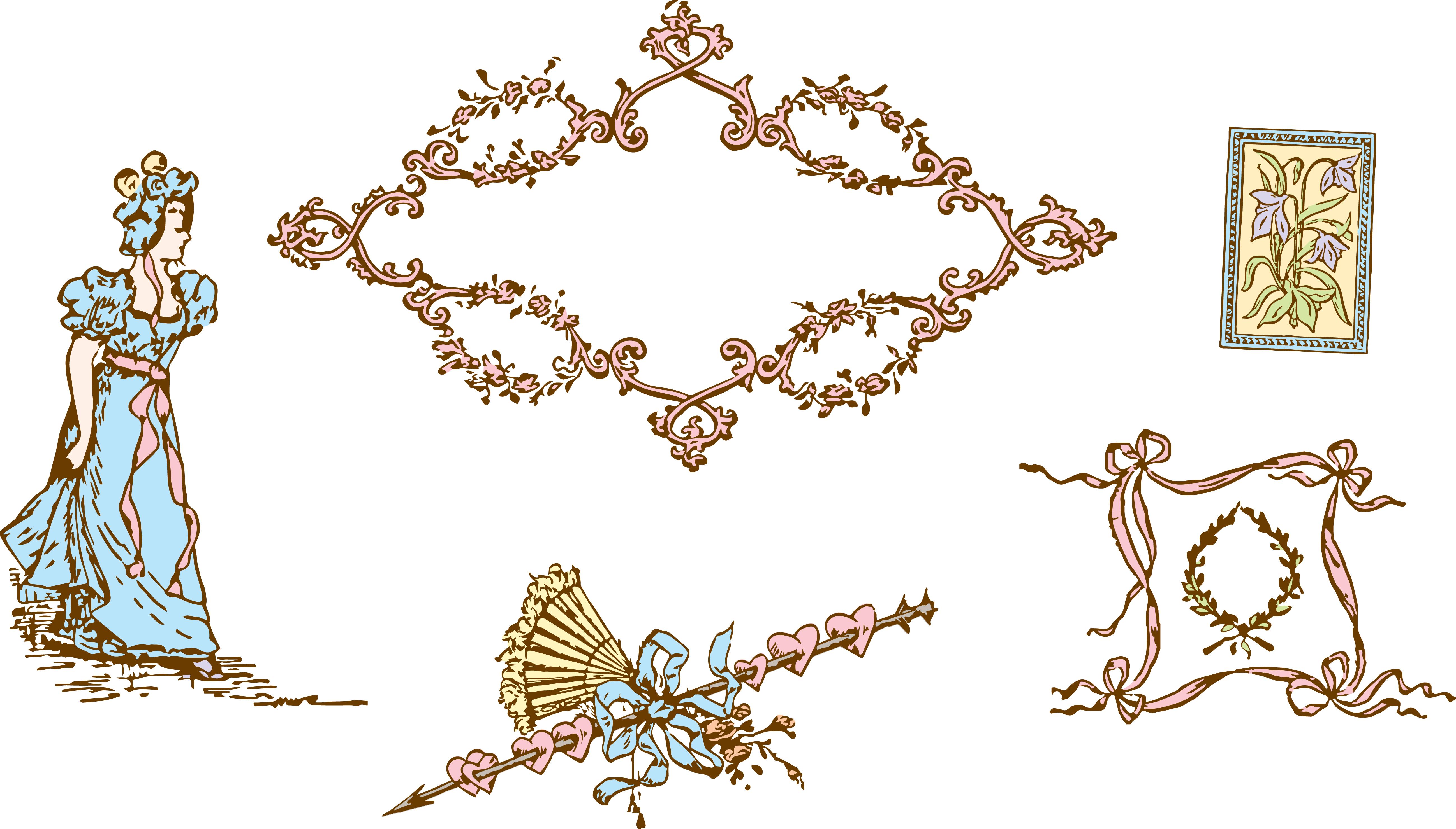 Vintage Victorian Valentine Clip Art free image.