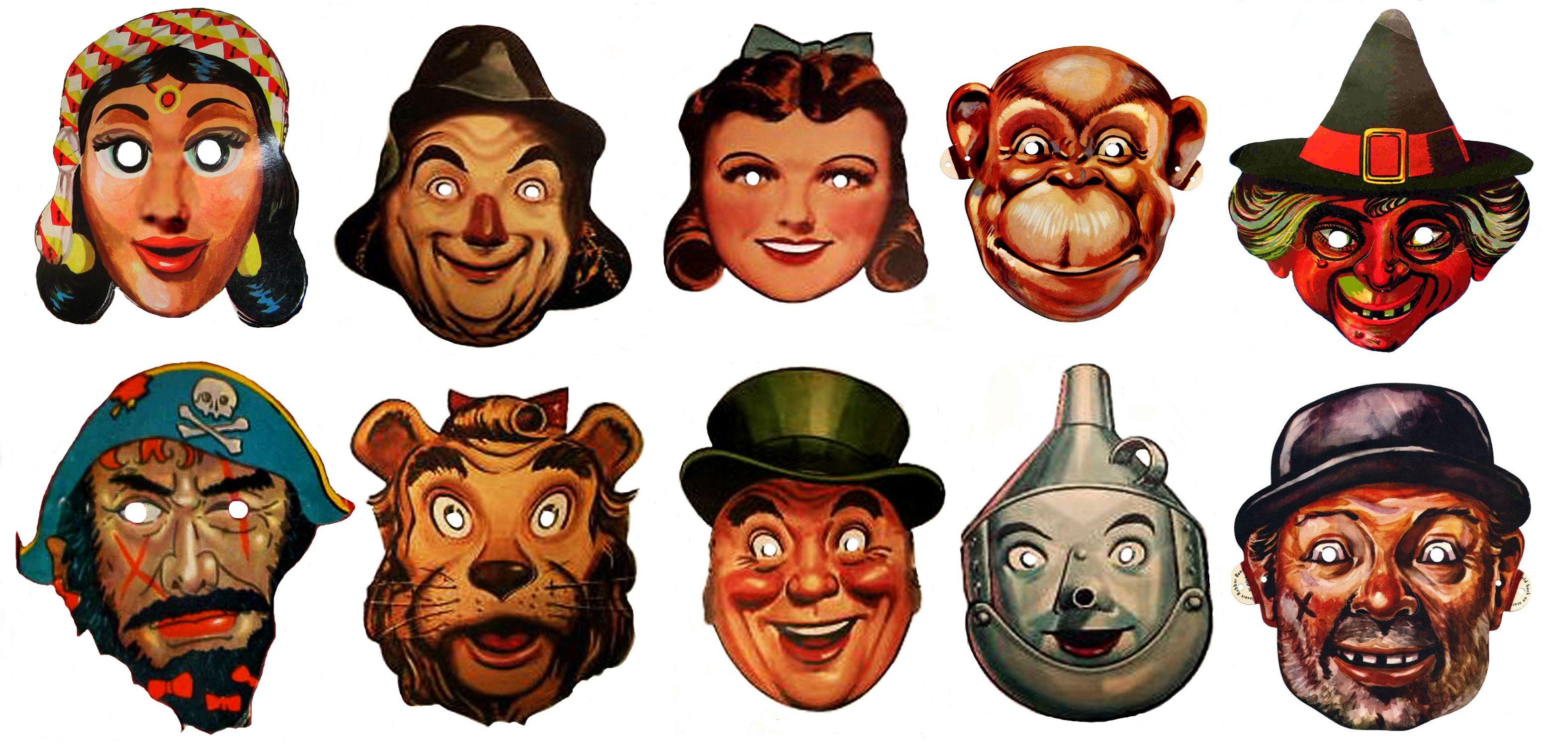 Vintage Halloween Masks.