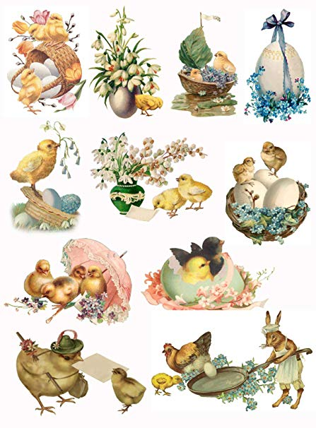 Victorian Easter Chicks and Eggs Collage Sheet #105.
