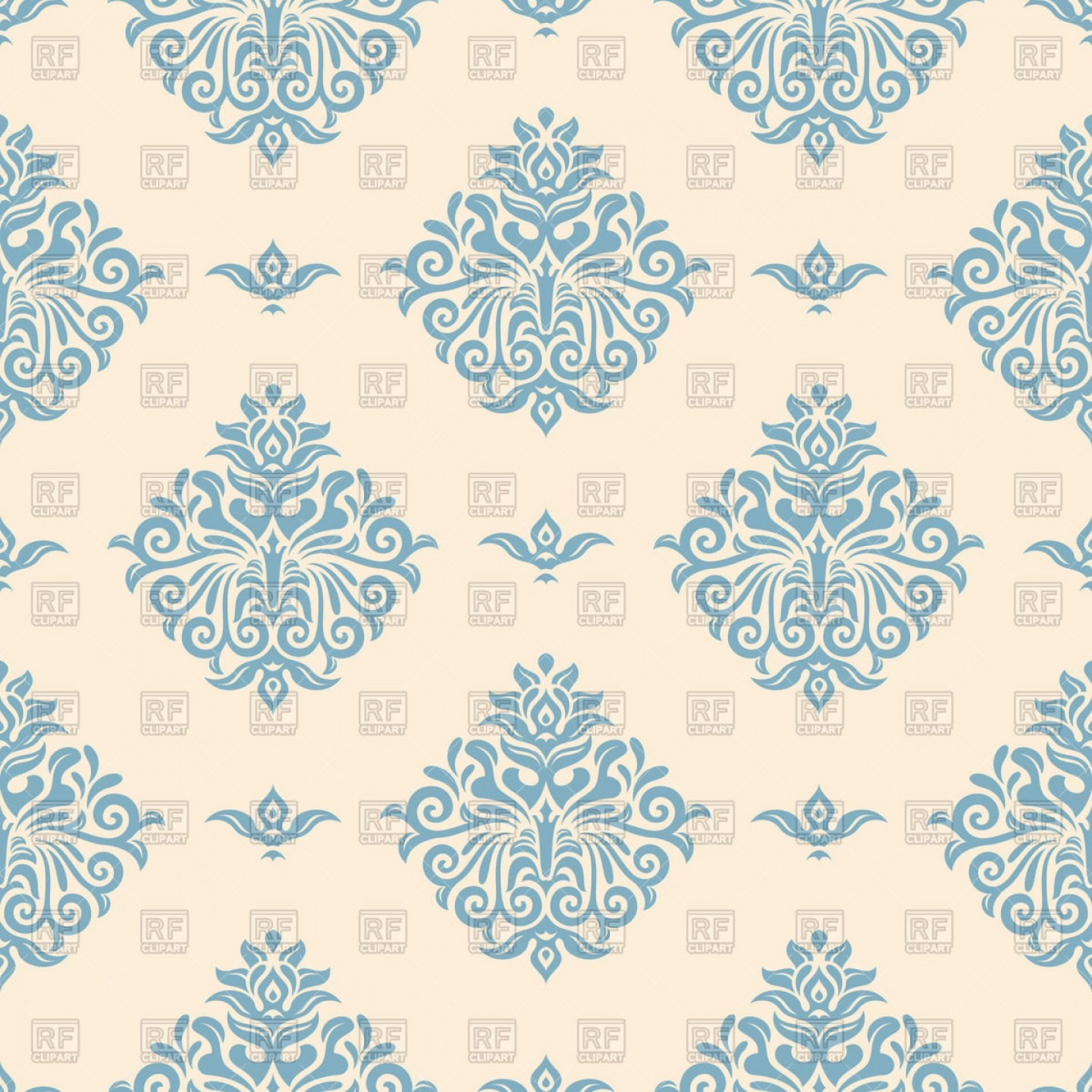Blue Vintage Wallpaper With Victorian Ornament Vector.