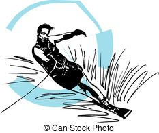 Water skiing illustration. Water skiing abstract vector.