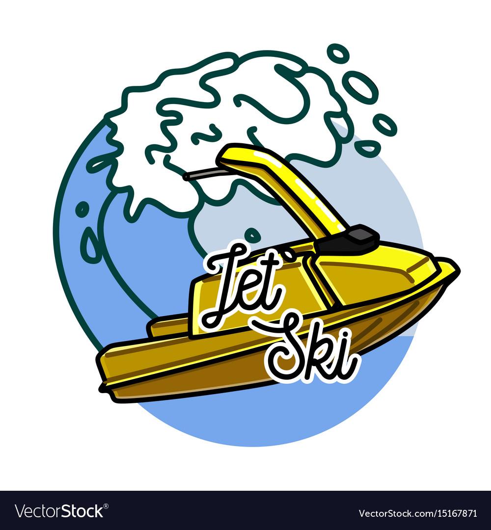 Color vintage jet ski emblem.
