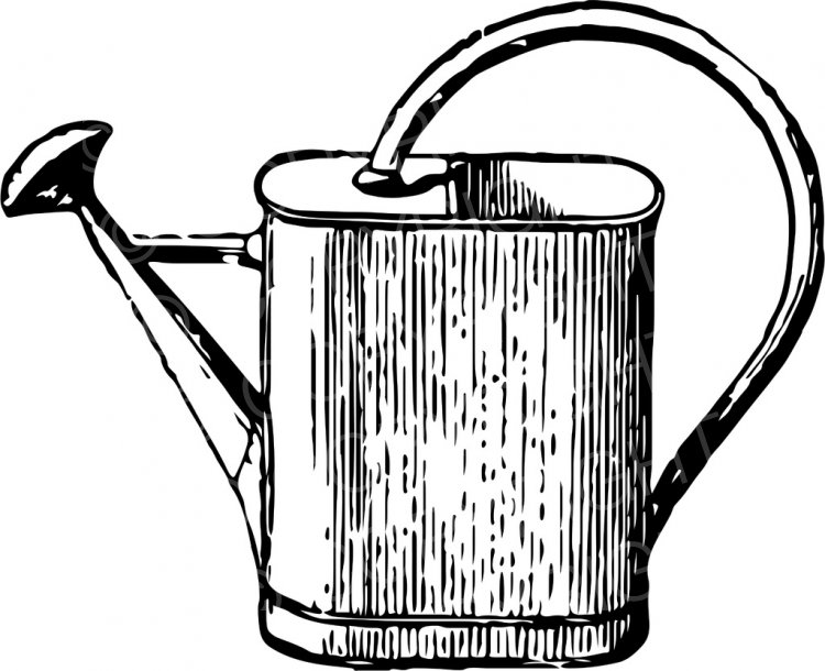 Vintage Garden Watering Can ClipArt.