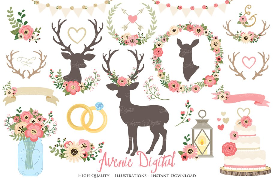 Vintage Pink Rustic Wedding Clipart.