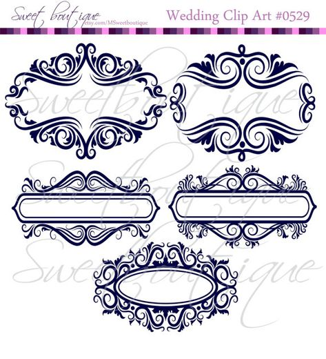 NAVY BLUE Floral Frame Ornaments Decoration Graphics Border.