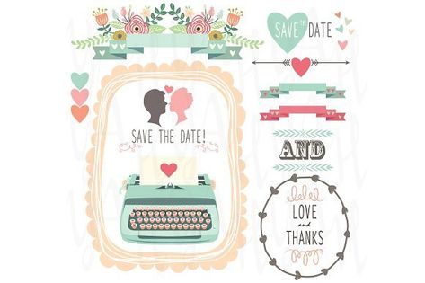 Wedding Vintage Typewriter clipart. Banner #scrapbooking.