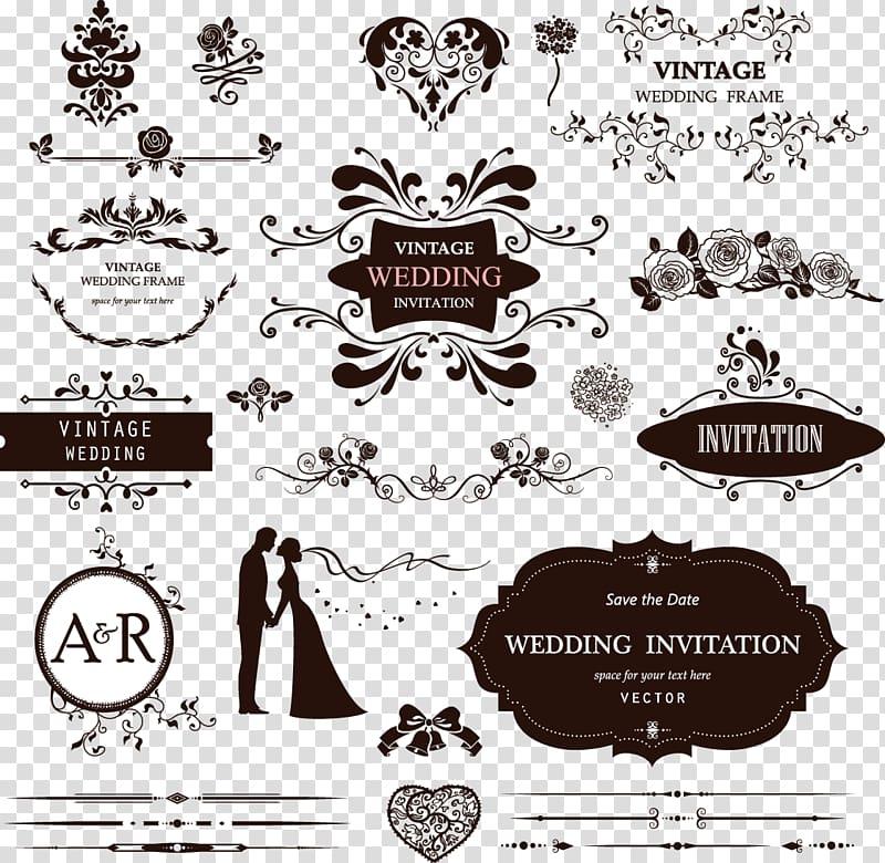 Wedding decorative pattern, Vintage Wedding frame.